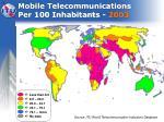 mobile telecommunications per 100 inhabitants 2003