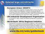 selected large commitments international and regional organisations