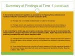 summary of findings at time 1 continued