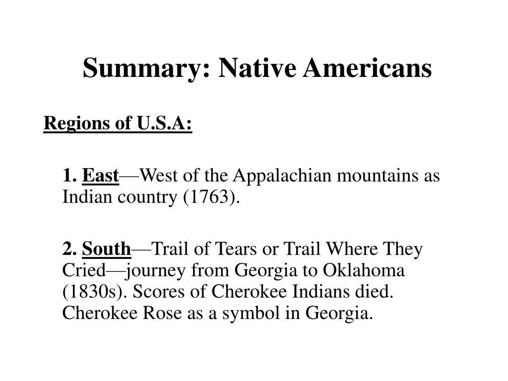 summary native americans l.