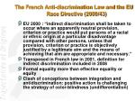 the french anti discrimination law and the eu race directive 2000 43