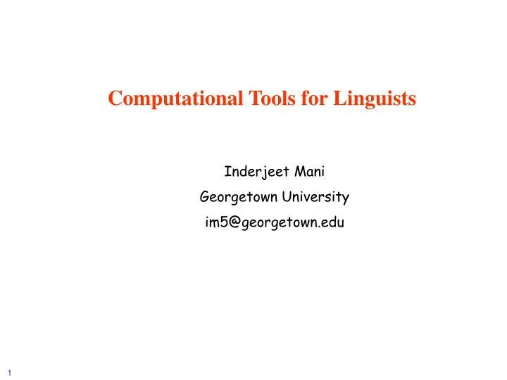 computational tools for linguists n.