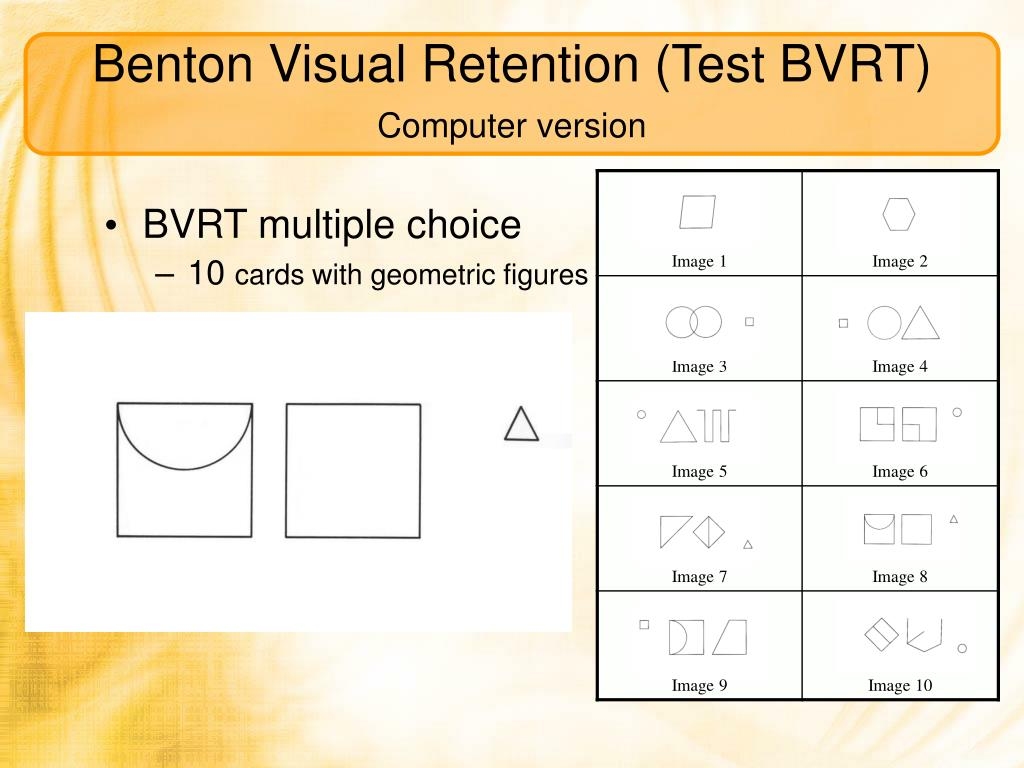 Benton Visual Retention (Test BVRT)