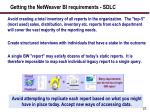 getting the netweaver bi requirements sdlc