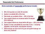 reasonable sla performance