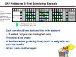 sap netweaver bi test scheduling example
