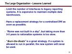 the large organization lessons learned