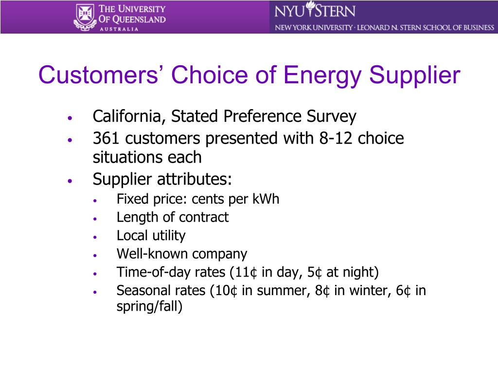 Customers' Choice of Energy Supplier
