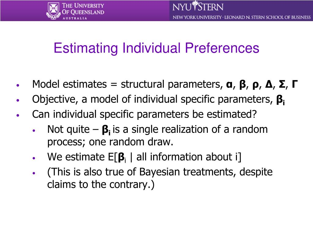 Estimating Individual Preferences