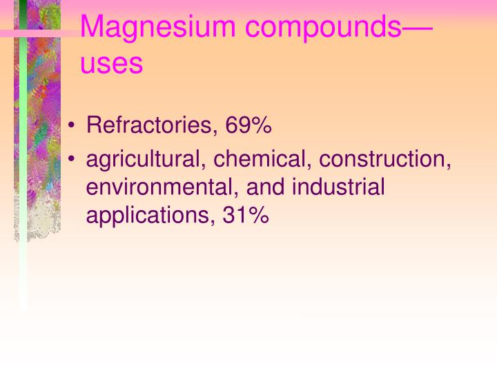 Magnesium compounds—uses