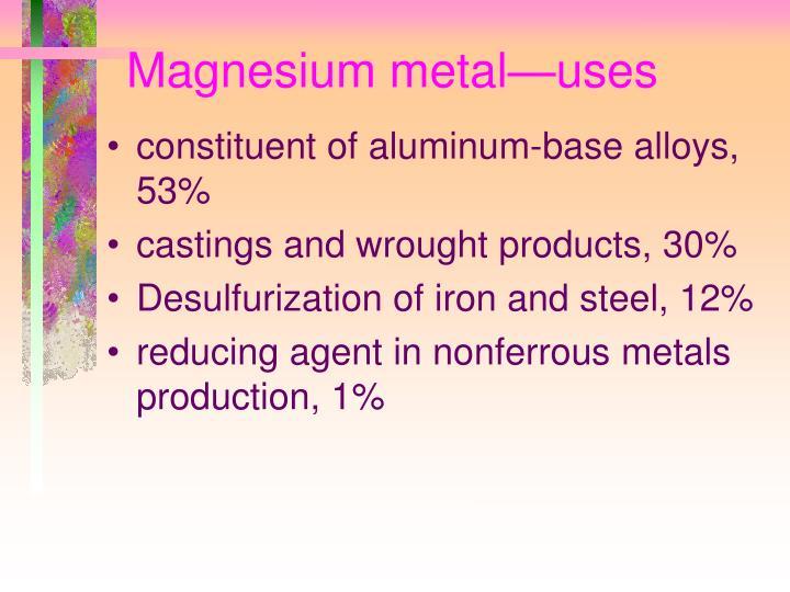 Magnesium metal—uses