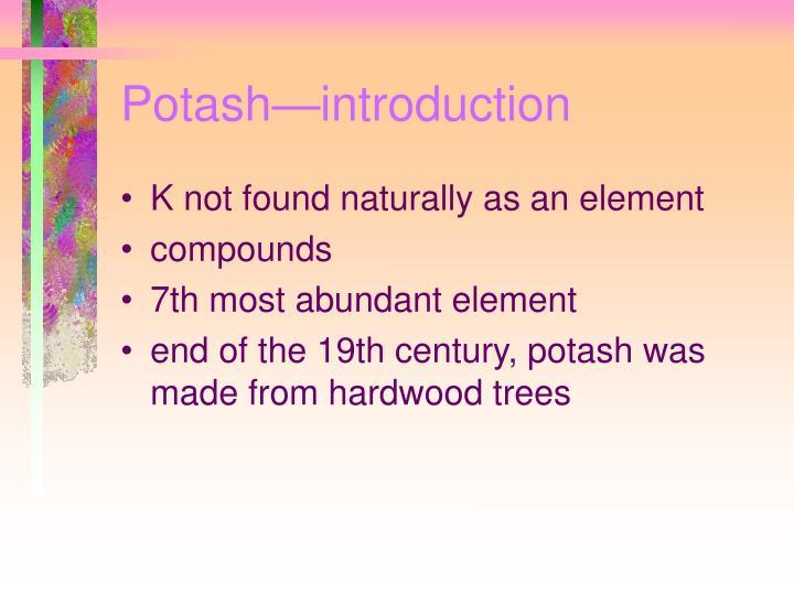 Potash—introduction
