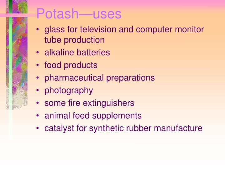 Potash—uses
