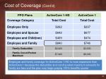 cost of coverage cont d