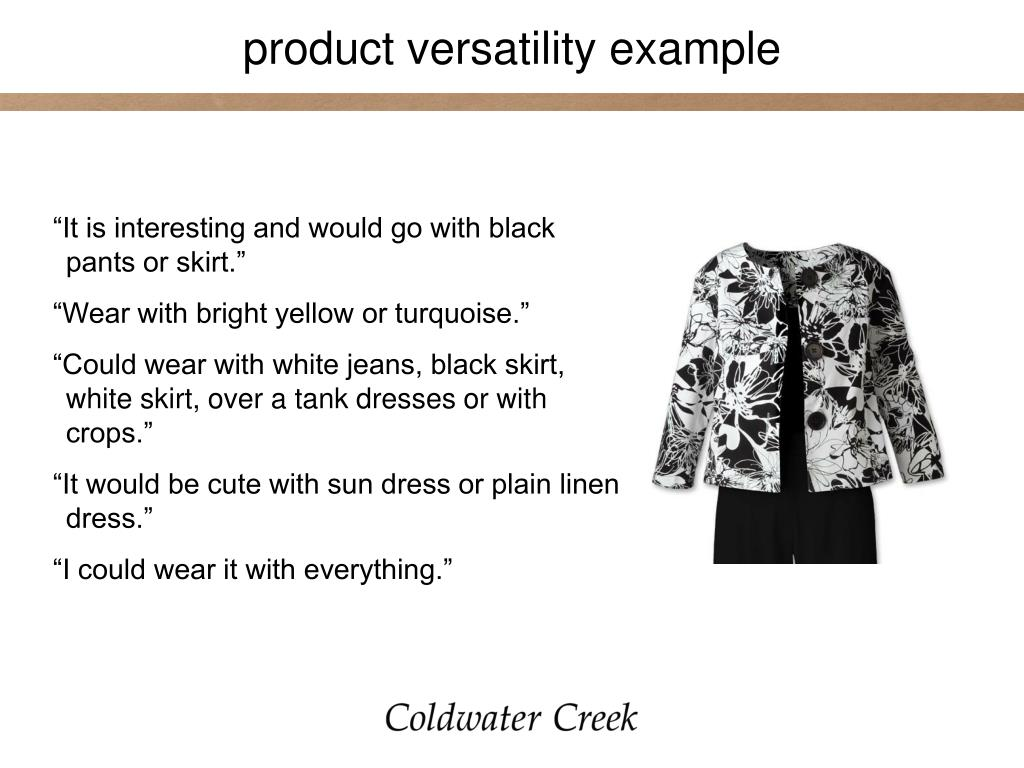 product versatility example