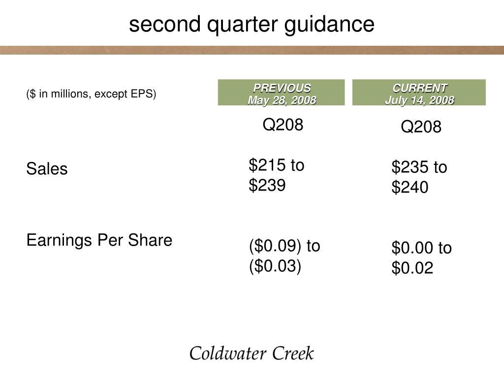 second quarter guidance