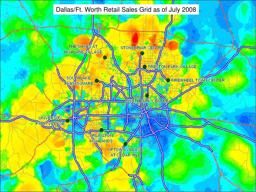 Dallas/Ft. Worth Retail Sales Grid as of July 2008