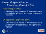hazard mitigation plan vs emergency operation plan