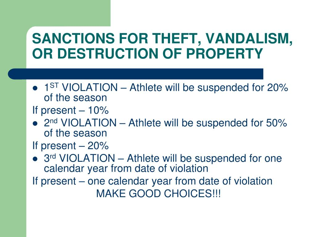 SANCTIONS FOR THEFT, VANDALISM, OR DESTRUCTION OF PROPERTY