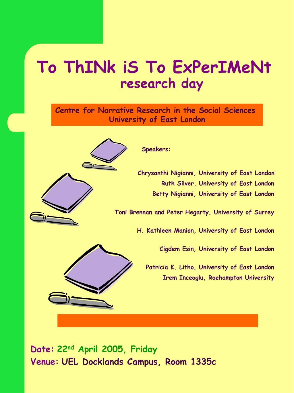to think is to experiment research day l.