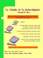 to think is to experiment research day