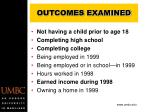 outcomes examined