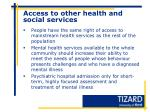 access to other health and social services