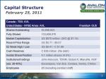 capital structure february 25 2011