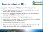 some objectives for 2011