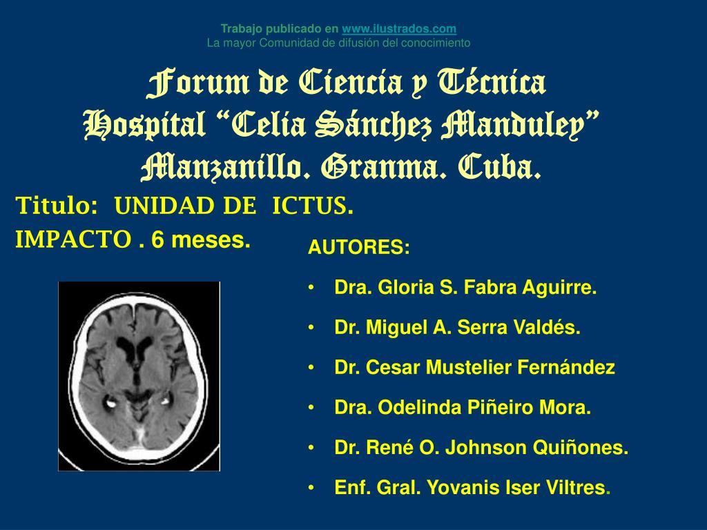 forum de ciencia y t cnica hospital celia s nchez manduley manzanillo granma cuba l.