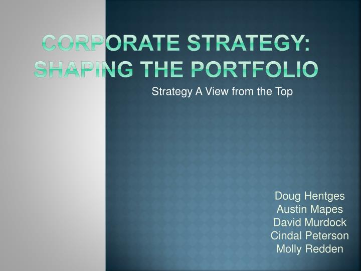 corporate strategy shaping the portfolio n.
