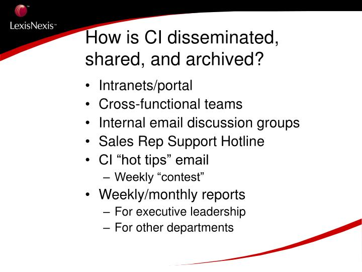 How is CI disseminated, shared, and archived?