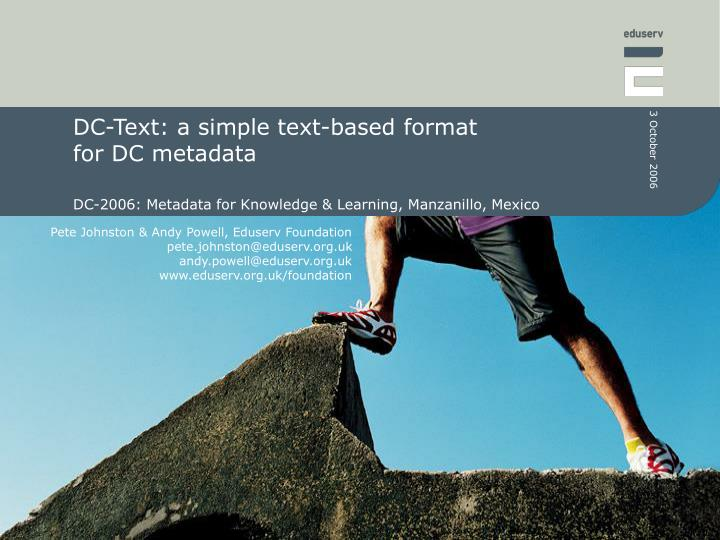 dc text a simple text based format for dc metadata n.