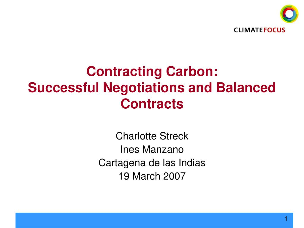 contracting carbon successful negotiations and balanced contracts l.
