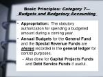 basic principles category 7 budgets and budgetary accounting