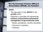 the government finance officers association gfoa its function