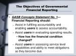 the objectives of governmental financial reporting
