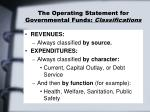 the operating statement for governmental funds classifications