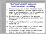 five inconvenient issues in travel behaviour modelling