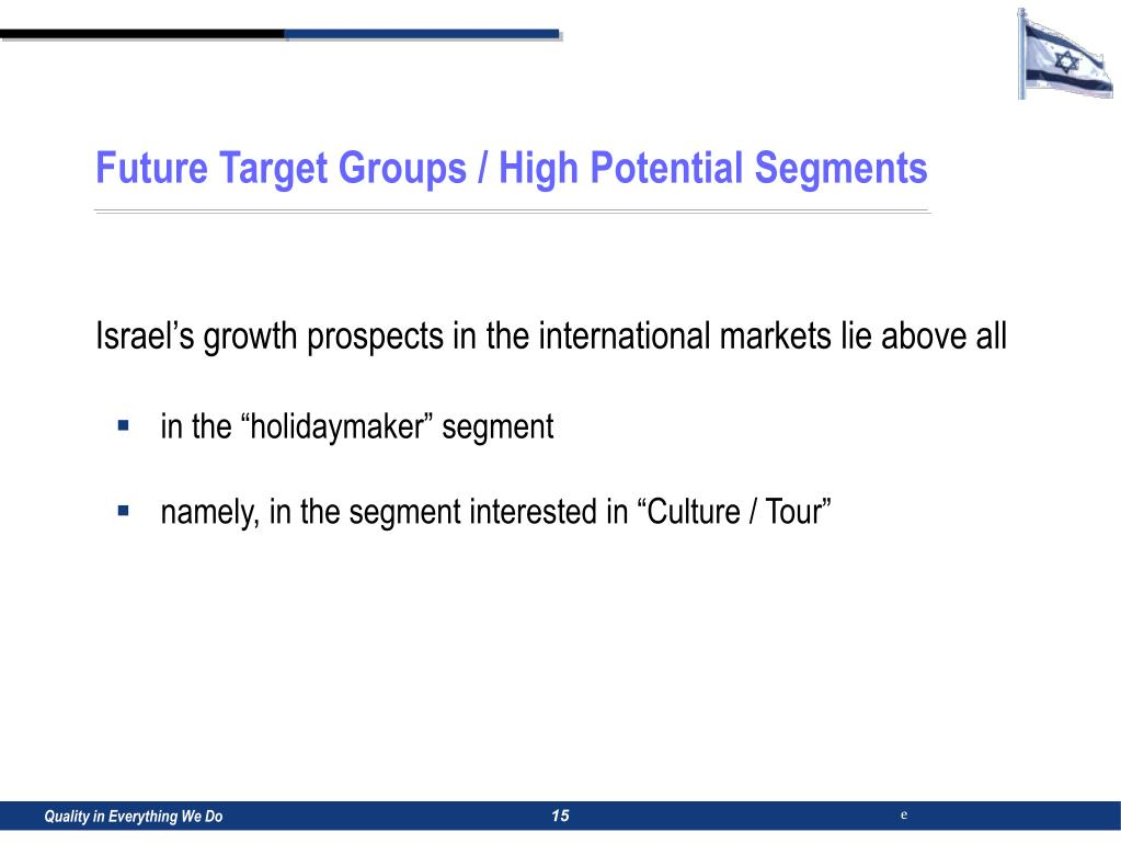 Future Target Groups / High Potential Segments