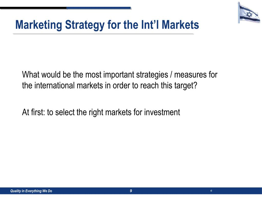 Marketing Strategy for the Int'l Markets