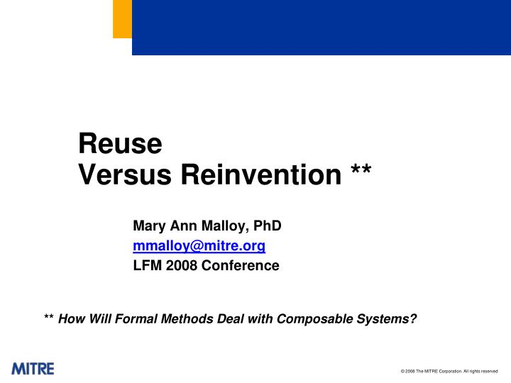 reuse versus reinvention n.