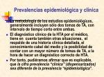 prevalencias epidemiol gica y cl nica