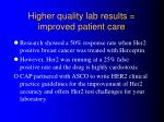 higher quality lab results improved patient care