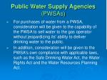 public water supply agencies pwsas