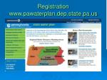 registration www pawaterplan dep state pa us