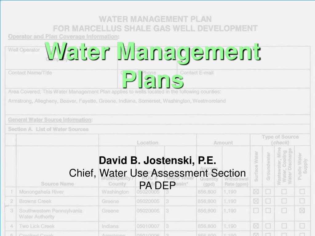 water management plans l.