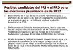posibles candidatos del pri y el prd para las elecciones presidenciales de 2012