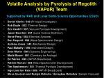volatile analysis by pyrolysis of regolith vapor team