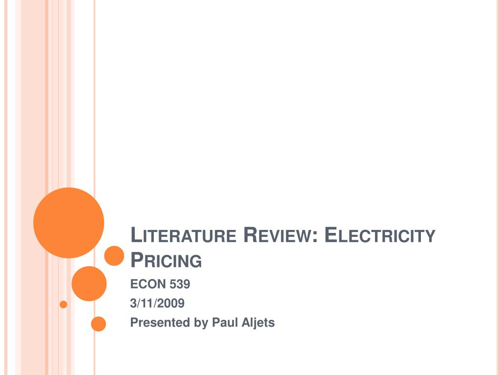 literature review electricity pricing l.